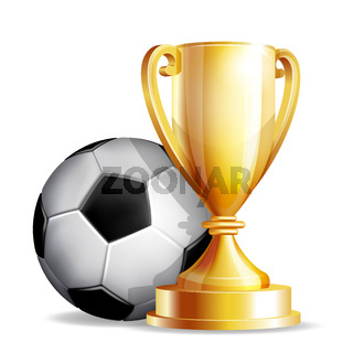 Gold cup with a football ball