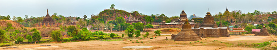 Temples in Mrauk U. Myanmar. High resolution panorama