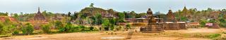 Temples in Mrauk U. Myanmar. High resolution panorama