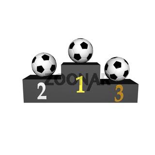 podium with soccer balls