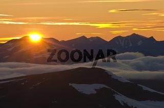Sonnenaufgang, Sjaunja Naturreservat, Welterbe Laponia, Lappland, Schweden