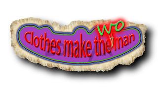 Korrigierte Tafel mit dem Sprichwort 'Clothes make the woman' (Deutsch: 'Kleider machen Leute')