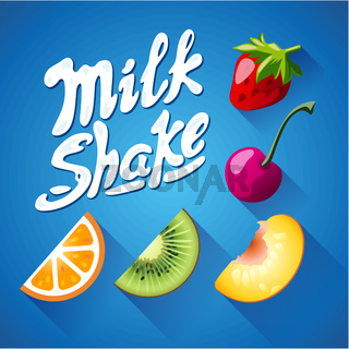 Set of lettering milkshake sign with Strawberry, kiwi, orange, cherry - label
