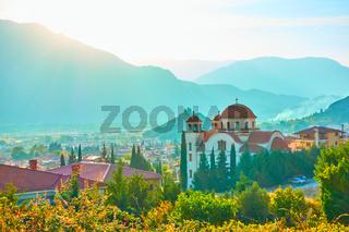 Rural landscape with Greek orthodox church