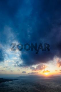 Sunset at Santorini, Greece. View to caldera sea.