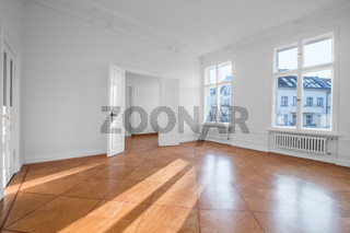 empty apartment room - flat for rent with wooden floor