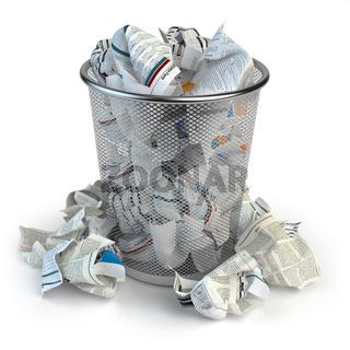 Trash bin full of waste paper. Wastepaper basket isolated on white background.
