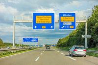 freeway road sign on Autobahn A8, B27 Tuebingen Reutlingen / Filderstadt Leinfelden-Echterdingen