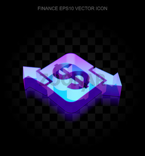 Finance icon: 3d neon glowing Finance made of glass, EPS 10 vector.
