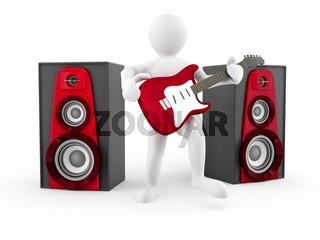 Men with guitar and loudspeaker. 3d