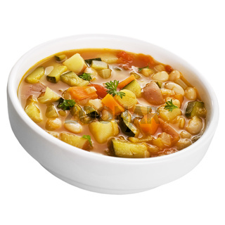 Vegetable Soup Isolated on White