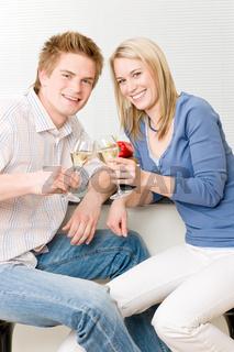 Celebration happy romantic couple enjoy white wine