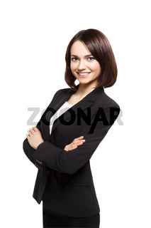 Smiling sucsess business woman portrait. Crossed arms.