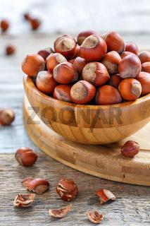Full bowl of ripe hazelnuts.