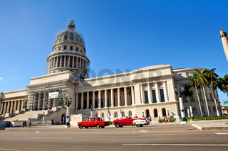 Havana, Cuba - December 11, 2016: The Capitol in Havana near the Central Park