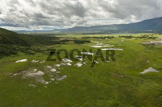 Uzon Caldera in Kronotsky Nature Reserve on Kamchatka Peninsula.