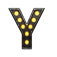 y metal letter with lights. 3D illustration