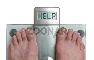 Man's feet on weight scale - Help