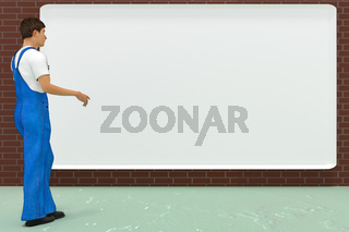 Workers in front of empty billboard, 3d illustration