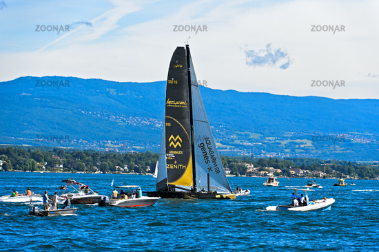 Segelboot SUI 10 Ladycat powered by Spindrift RacingSegelregatta Bol d'Or Mirabaud,Genfersee,Schweiz