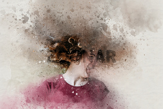Watercolor of beautiful teen girl shaking head with curly hair