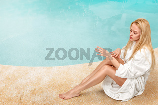 Woman enjoying in tropical SPA