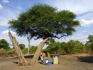 Zeltplatz mit einer Wasserstelle unter einer Schirmakazie (Acacia tortilis)