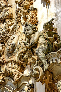 Church baroque style sculptures and ornaments detail