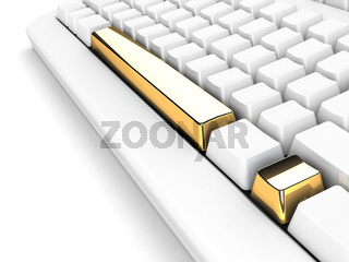 keyboard with gold exclamation mark concept