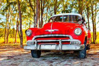 American classic car on the beach Cayo Jutias, Province Pinar del Rio, Cuba