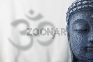 Om sign 4 Buddha blau grau