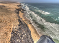 Aerial view of African coastline on sunny day