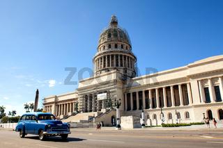 Capitol and traffic near the Central Park, Havana, Cuba
