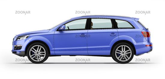 Blue automobile, luxury SUV. Isolated on white.