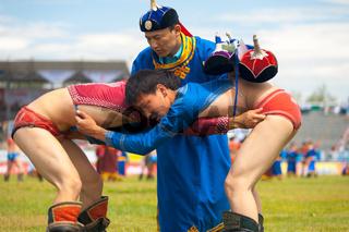 Naadam Festival Referee Checking Wrestling Boys