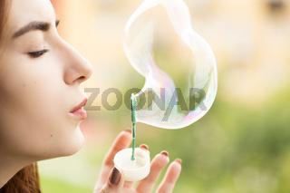 making soap bubble