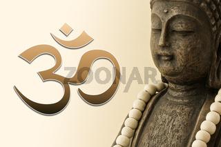 ZEN Buddha mit Mala-Kette und OM Zeichen 02