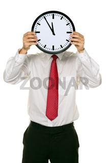 Manager im Stress mit Uhr vor Kopf. Arbeitszeit im Büro.