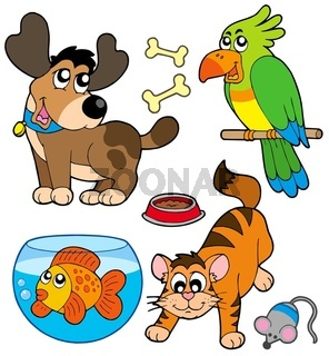 Cartoon pets collection - isolated illustration.