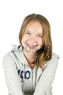 Teenage girl with earphones