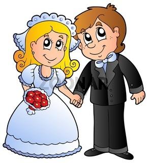 Cute wedding couple - isolated illustration.