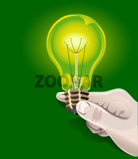 Electric bulb in hand