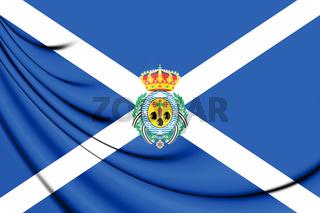 3D Flag of Santa Cruz de Tenerife Province, Spain.