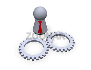 spielfigur mit krawatte und zahnräder - 3d illustration