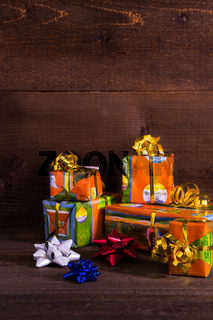Christmas boxes with ribbons