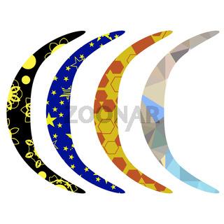 Set of Colorful Australian Boomerang