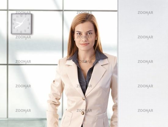 Portrait of confident businesswoman smiling