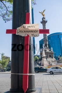 Wooden crosses in pink as a protest against insecurity and feminicide in Mexico, placed on Reforma Avenue in Mexico City.