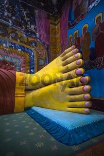 Feets of he largest statue of Reclining Buddha of Sri Lanka in Galagoda Shailatharama Viharaya