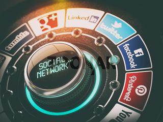 KIEV, UKRAINE - NOVEMBER 16, 2016: Social network concept. Switch knob with Facebook, Twitter, Google Plus, Instagram, LinkedIn,  YouTube, Tumblr and Pinterest.